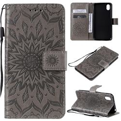 Embossing Sunflower Leather Wallet Case for Huawei Y5 (2019) - Gray