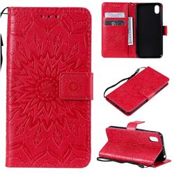 Embossing Sunflower Leather Wallet Case for Huawei Y5 (2019) - Red