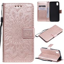 Embossing Sunflower Leather Wallet Case for Huawei Y5 (2019) - Rose Gold
