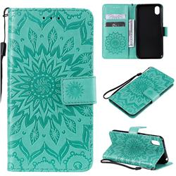 Embossing Sunflower Leather Wallet Case for Huawei Y5 (2019) - Green