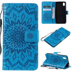 Embossing Sunflower Leather Wallet Case for Huawei Y5 (2019) - Blue