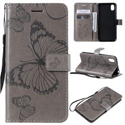 Embossing 3D Butterfly Leather Wallet Case for Huawei Y5 (2019) - Gray