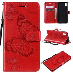 Embossing 3D Butterfly Leather Wallet Case for Huawei Y5 (2019) - Red