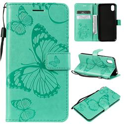 Embossing 3D Butterfly Leather Wallet Case for Huawei Y5 (2019) - Green
