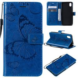 Embossing 3D Butterfly Leather Wallet Case for Huawei Y5 (2019) - Blue