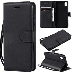 Retro Greek Classic Smooth PU Leather Wallet Phone Case for Huawei Y5 (2019) - Black