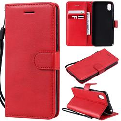 Retro Greek Classic Smooth PU Leather Wallet Phone Case for Huawei Y5 (2019) - Red