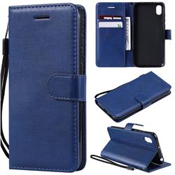 Retro Greek Classic Smooth PU Leather Wallet Phone Case for Huawei Y5 (2019) - Blue