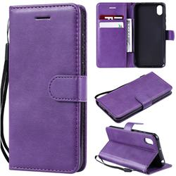 Retro Greek Classic Smooth PU Leather Wallet Phone Case for Huawei Y5 (2019) - Purple