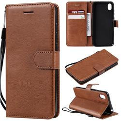 Retro Greek Classic Smooth PU Leather Wallet Phone Case for Huawei Y5 (2019) - Brown