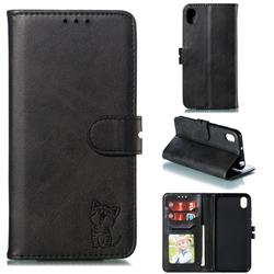 Embossing Happy Cat Leather Wallet Case for Huawei Y5 (2019) - Black