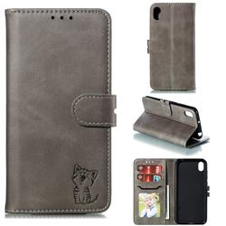 Embossing Happy Cat Leather Wallet Case for Huawei Y5 (2019) - Gray