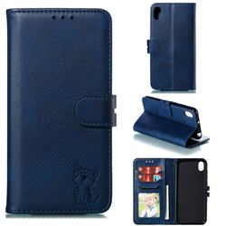Embossing Happy Cat Leather Wallet Case for Huawei Y5 (2019) - Blue