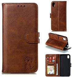 Embossing Happy Cat Leather Wallet Case for Huawei Y5 (2019) - Brown