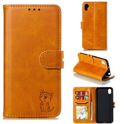 Embossing Happy Cat Leather Wallet Case for Huawei Y5 (2019) - Yellow