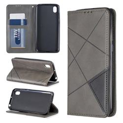 Prismatic Slim Magnetic Sucking Stitching Wallet Flip Cover for Huawei Y5 (2019) - Gray