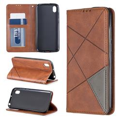 Prismatic Slim Magnetic Sucking Stitching Wallet Flip Cover for Huawei Y5 (2019) - Brown