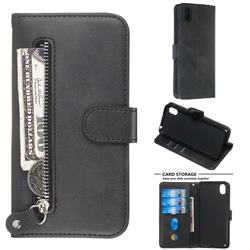 Retro Luxury Zipper Leather Phone Wallet Case for Huawei Y5 (2019) - Black