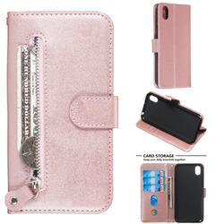 Retro Luxury Zipper Leather Phone Wallet Case for Huawei Y5 (2019) - Pink