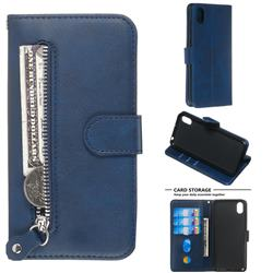 Retro Luxury Zipper Leather Phone Wallet Case for Huawei Y5 (2019) - Blue