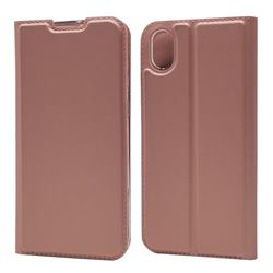 Ultra Slim Card Magnetic Automatic Suction Leather Wallet Case for Huawei Y5 (2019) - Rose Gold