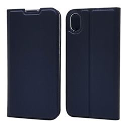 Ultra Slim Card Magnetic Automatic Suction Leather Wallet Case for Huawei Y5 (2019) - Royal Blue