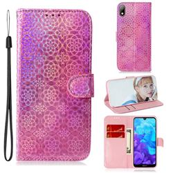 Laser Circle Shining Leather Wallet Phone Case for Huawei Y5 (2019) - Pink