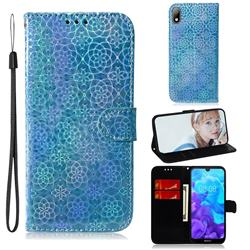 Laser Circle Shining Leather Wallet Phone Case for Huawei Y5 (2019) - Blue