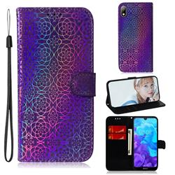 Laser Circle Shining Leather Wallet Phone Case for Huawei Y5 (2019) - Purple