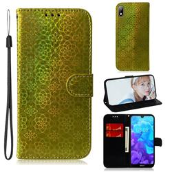 Laser Circle Shining Leather Wallet Phone Case for Huawei Y5 (2019) - Golden