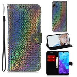 Laser Circle Shining Leather Wallet Phone Case for Huawei Y5 (2019) - Silver