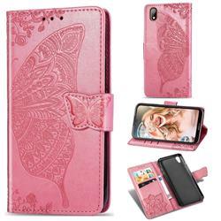 Embossing Mandala Flower Butterfly Leather Wallet Case for Huawei Y5 (2019) - Pink