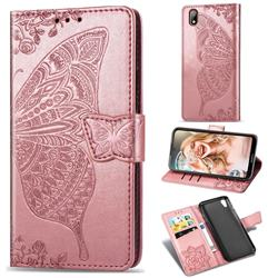 Embossing Mandala Flower Butterfly Leather Wallet Case for Huawei Y5 (2019) - Rose Gold