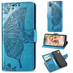 Embossing Mandala Flower Butterfly Leather Wallet Case for Huawei Y5 (2019) - Blue