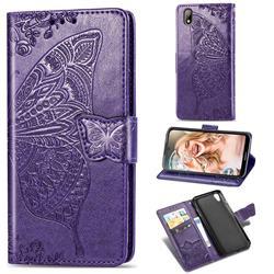 Embossing Mandala Flower Butterfly Leather Wallet Case for Huawei Y5 (2019) - Dark Purple