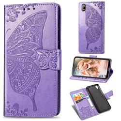 Embossing Mandala Flower Butterfly Leather Wallet Case for Huawei Y5 (2019) - Light Purple