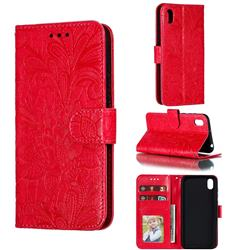 Intricate Embossing Lace Jasmine Flower Leather Wallet Case for Huawei Y5 (2019) - Red