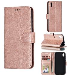Intricate Embossing Lace Jasmine Flower Leather Wallet Case for Huawei Y5 (2019) - Rose Gold