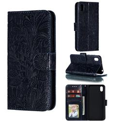 Intricate Embossing Lace Jasmine Flower Leather Wallet Case for Huawei Y5 (2019) - Dark Blue