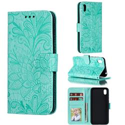Intricate Embossing Lace Jasmine Flower Leather Wallet Case for Huawei Y5 (2019) - Green