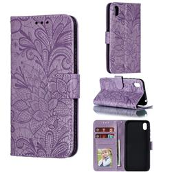 Intricate Embossing Lace Jasmine Flower Leather Wallet Case for Huawei Y5 (2019) - Purple