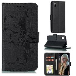 Intricate Embossing Lychee Feather Bird Leather Wallet Case for Huawei Y5 (2019) - Black