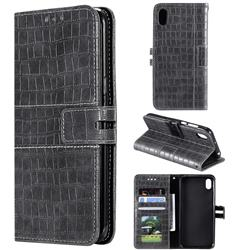 Luxury Crocodile Magnetic Leather Wallet Phone Case for Huawei Y5 (2019) - Gray