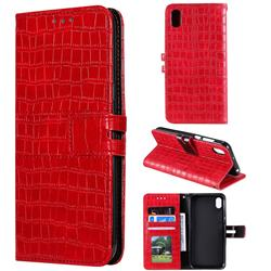 Luxury Crocodile Magnetic Leather Wallet Phone Case for Huawei Y5 (2019) - Red