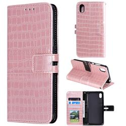 Luxury Crocodile Magnetic Leather Wallet Phone Case for Huawei Y5 (2019) - Rose Gold