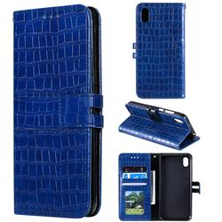 Luxury Crocodile Magnetic Leather Wallet Phone Case for Huawei Y5 (2019) - Blue