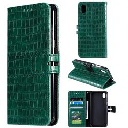 Luxury Crocodile Magnetic Leather Wallet Phone Case for Huawei Y5 (2019) - Green
