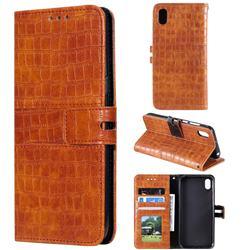 Luxury Crocodile Magnetic Leather Wallet Phone Case for Huawei Y5 (2019) - Brown