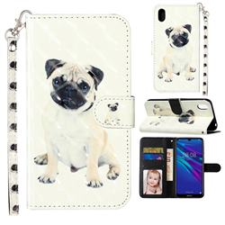 Pug Dog 3D Leather Phone Holster Wallet Case for Huawei Y5 (2019)