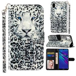 White Leopard 3D Leather Phone Holster Wallet Case for Huawei Y5 (2019)